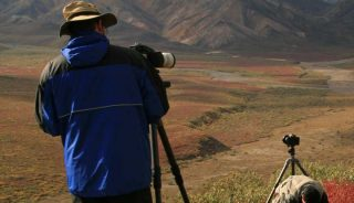 Photographers in Polychrome Pass, Denali National Park, Alaska