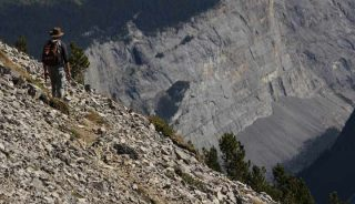 Hiker on Parker Ridge, Banff National Park, AB