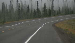Misty morning and a highway, Alaska