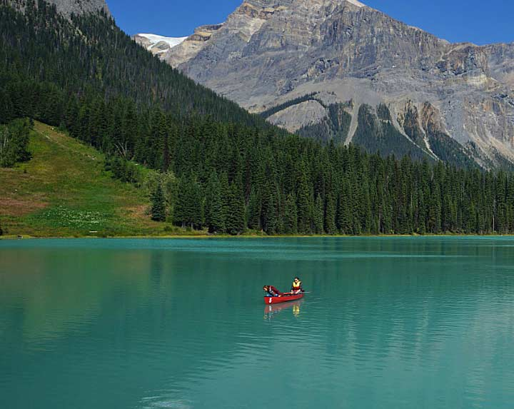 Canoe on Emerald Lake, Yoho National Park, BC
