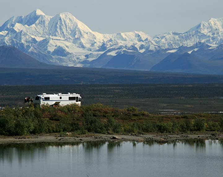 RV camp with a view, Denali Highway, Alaska