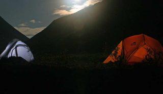 Tents in the moonlight, Lake Clark National Park, Alaska