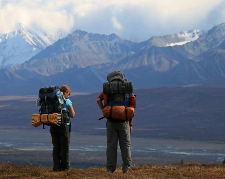 Backpackers in Denali National Park, Alaska