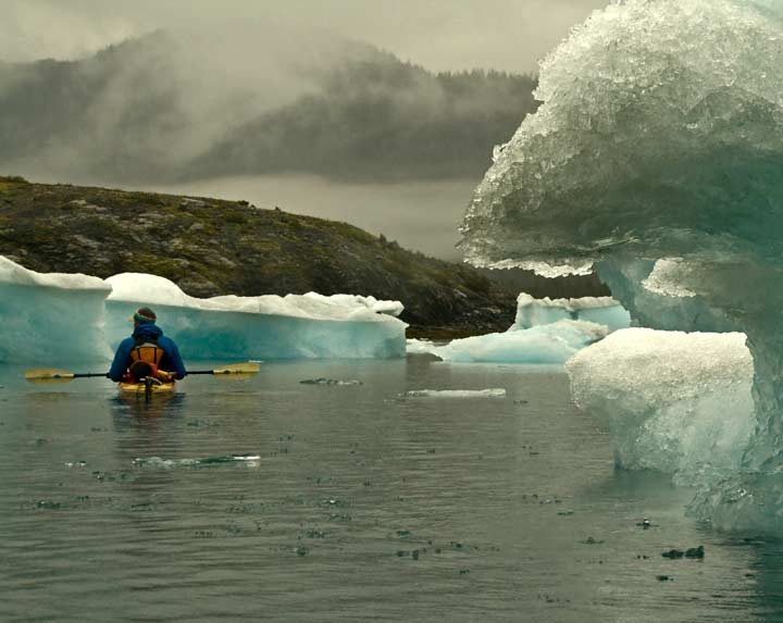 Kayaking near Columbia Glacier, Alaska