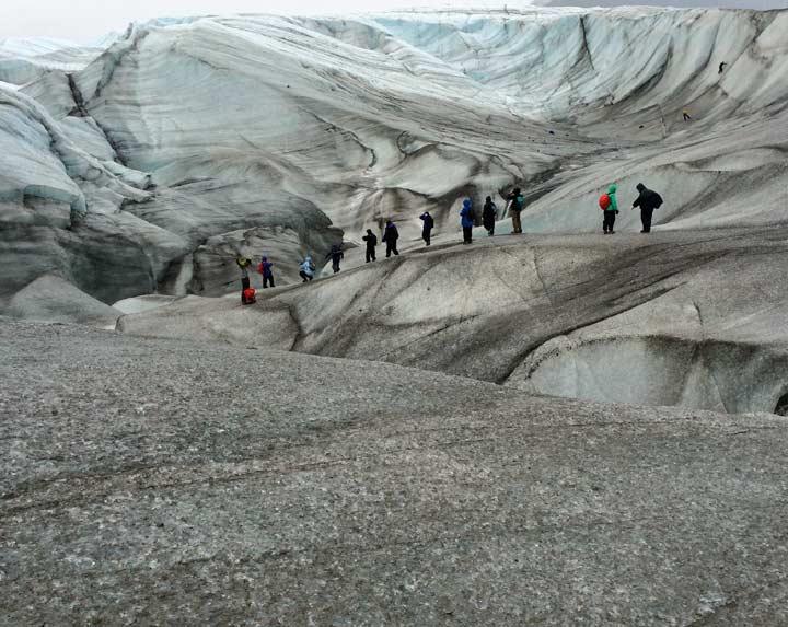 Hikers on Root Glacier, Wrangell St. Elias National Park, Alaska