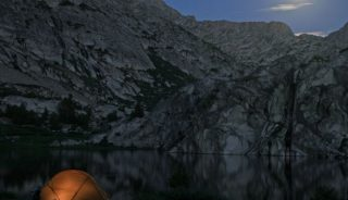 Camping by the moonlight in Evolution Lake