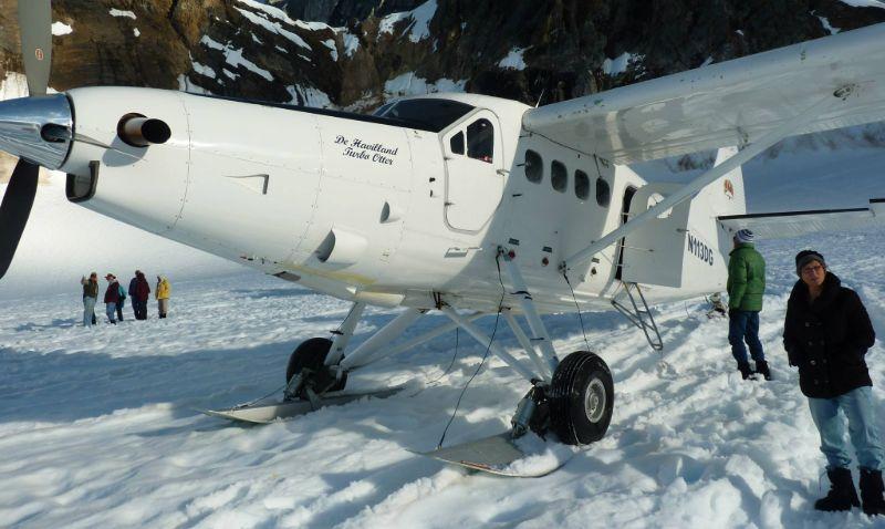 Glacier landing during a Denali flightseeing trip, Alaska