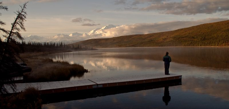 Visitor enjoy a quite sunset, Wonder Lake, Denali National Park, Alaska