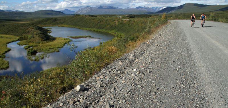 Bikers along the Denali Highway, Alaska