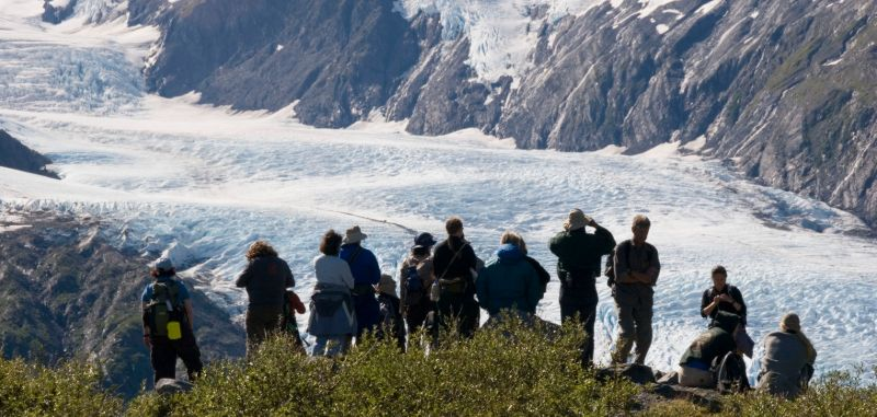 Hikers in Portage Pass, Alaska