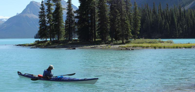 Kayaking near Spirit Island, Maligne Lake, Jasper National Park, AB