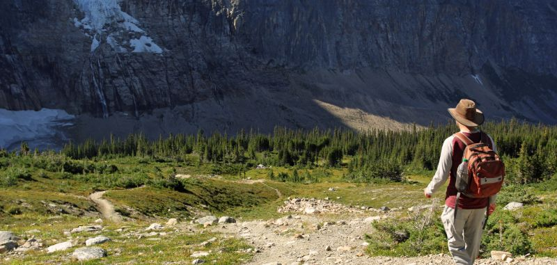 Hiker on the Cavell Meadows trail, Jasper National Park, AB