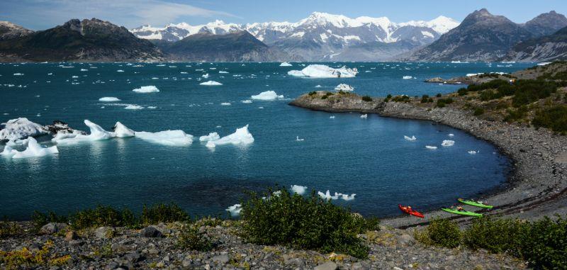 Kayaking near the Columbia Glacier, Alaska