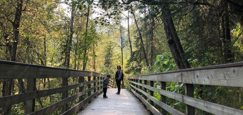 Family hike to Thunderbird Falls, Alaska