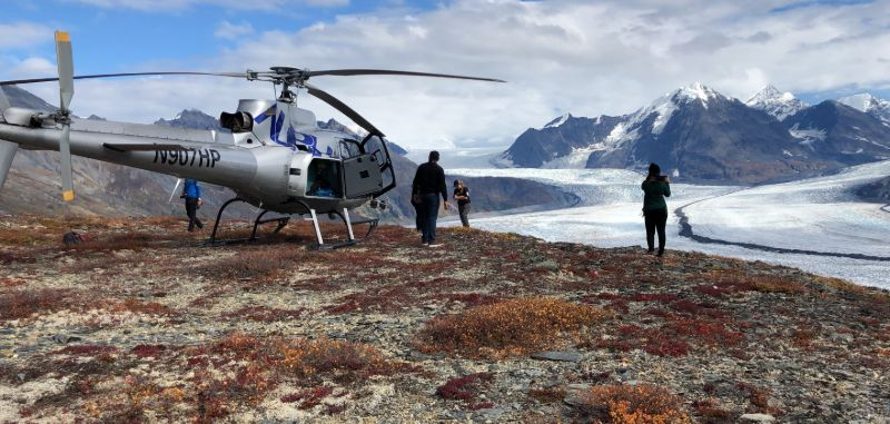 Helicopter landing for a view over the Knik Glacier, Alaska