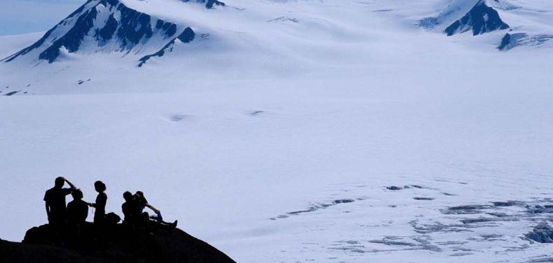Hikers overlooking the Harding Icefield, Alaska
