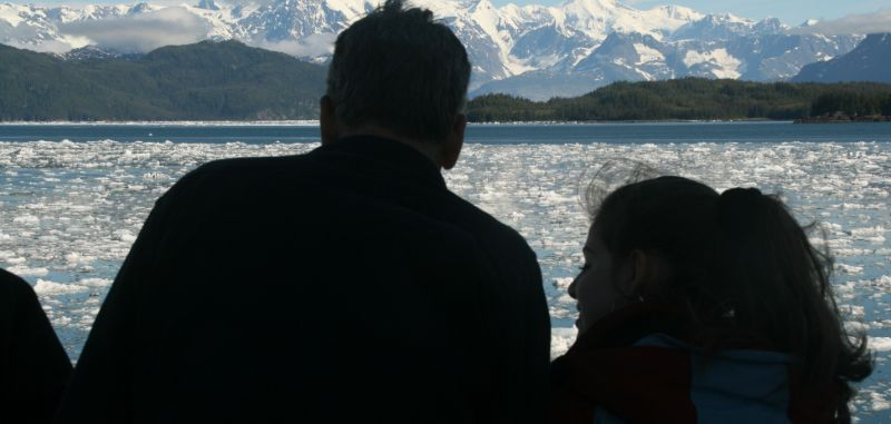 Father and daughter near Columbia Glacier, Alaska