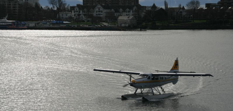 Floatplane in the Victoria harbor, Victoria BC