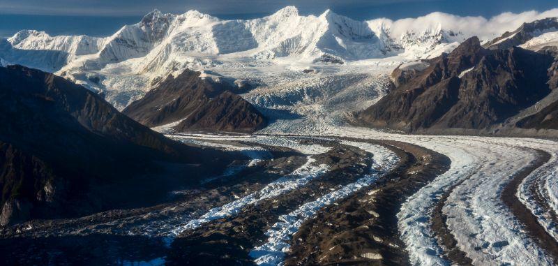 Aerial view of the Kennicott Glacier, Wrangell St. Elias National Park, Alaska