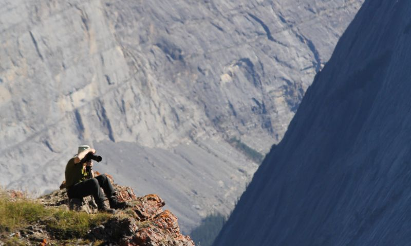 Photographer along the Parker Ridge Trail, Canadian Rockies