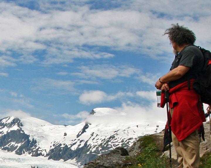Hiker at Portage Pass, Alaska