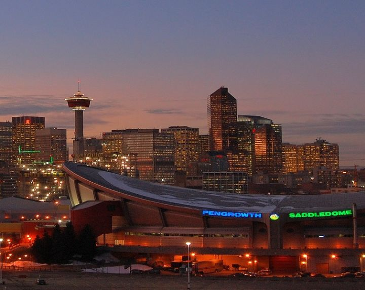Calgary skyline at sundown, Calgary, AB