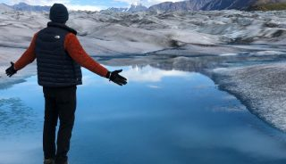 Hiker on the Knik Glacier, Alaska